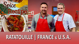 Ratatouille with Herbes de Provence prepared by French chef Cedric Fichepain in the studio of Spice and Recipe: The Origins of Flavor with Mike DiGiacomo