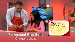 Fermented Rice Balls with Goji Berry prepared in the studio by Hong Qian, Omaha, Nebraska.