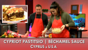 Cypriot Pastitsio prepared in the studio of Spice and Recipe by Elena Pilakouta, a basketball star of Omaha Mavericks women's basketball at UNO