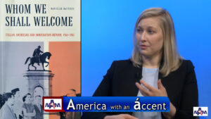 Dr. Danielle Battisti talking immigration for America with an Accent,